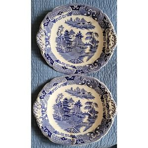 (2) W. Ridgway-Blue Willow Oval Handled Platters